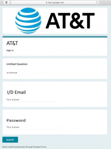 AT&T phishing page